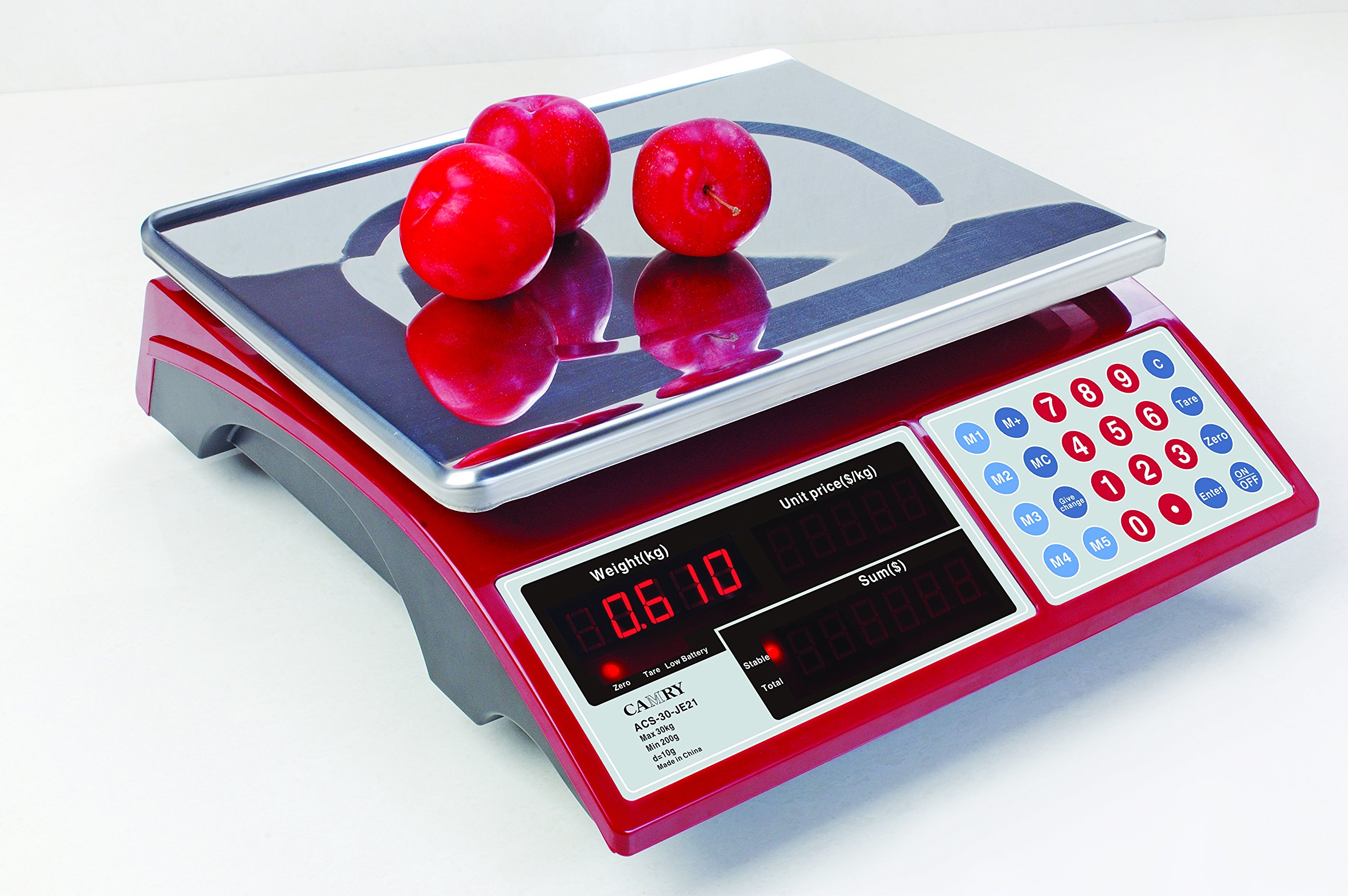 Camry Digital Commercial Price Scale 66lb/30kg for Food Meat Fruit Produce with Dual Bright Red LED Display 15 Inches Platform Rechargeable Battery Included Not For Trade