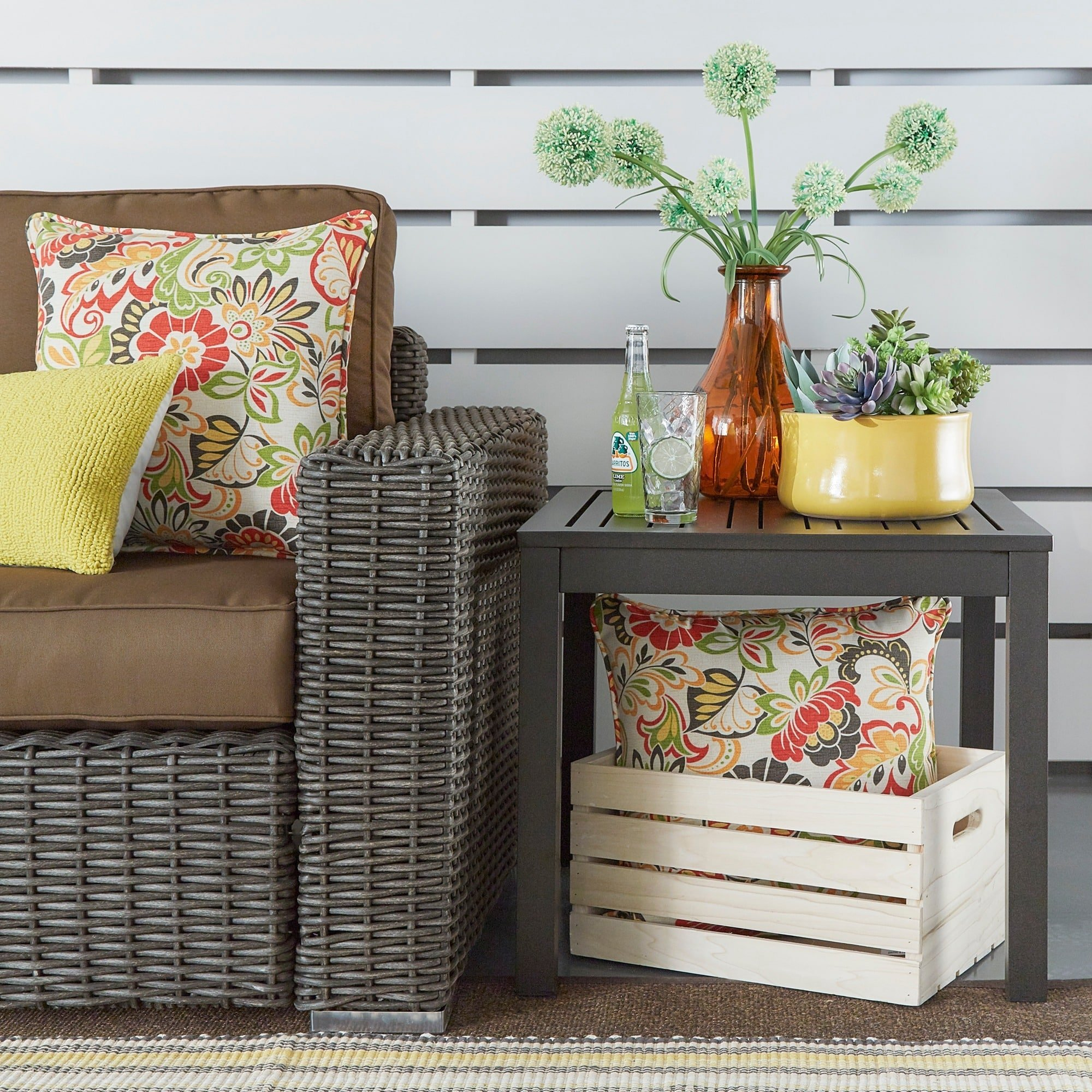 Inspire Q Matira Metal Patio Accent Side Table Oasis Bronze