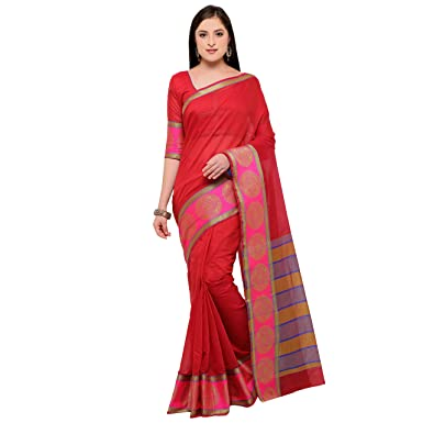 4874bc3d7e Bhelpuri Chanderi Cotton Woven Saree (AY-SR-SNH25-10442_Red): Amazon.in:  Clothing & Accessories