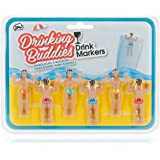 Drinking Buddies Classic Themed Reuseable Glass Drink Markers, 6