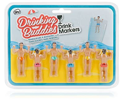 Drinking Buddies Classic Themed Reuseable Glass Drink Markers