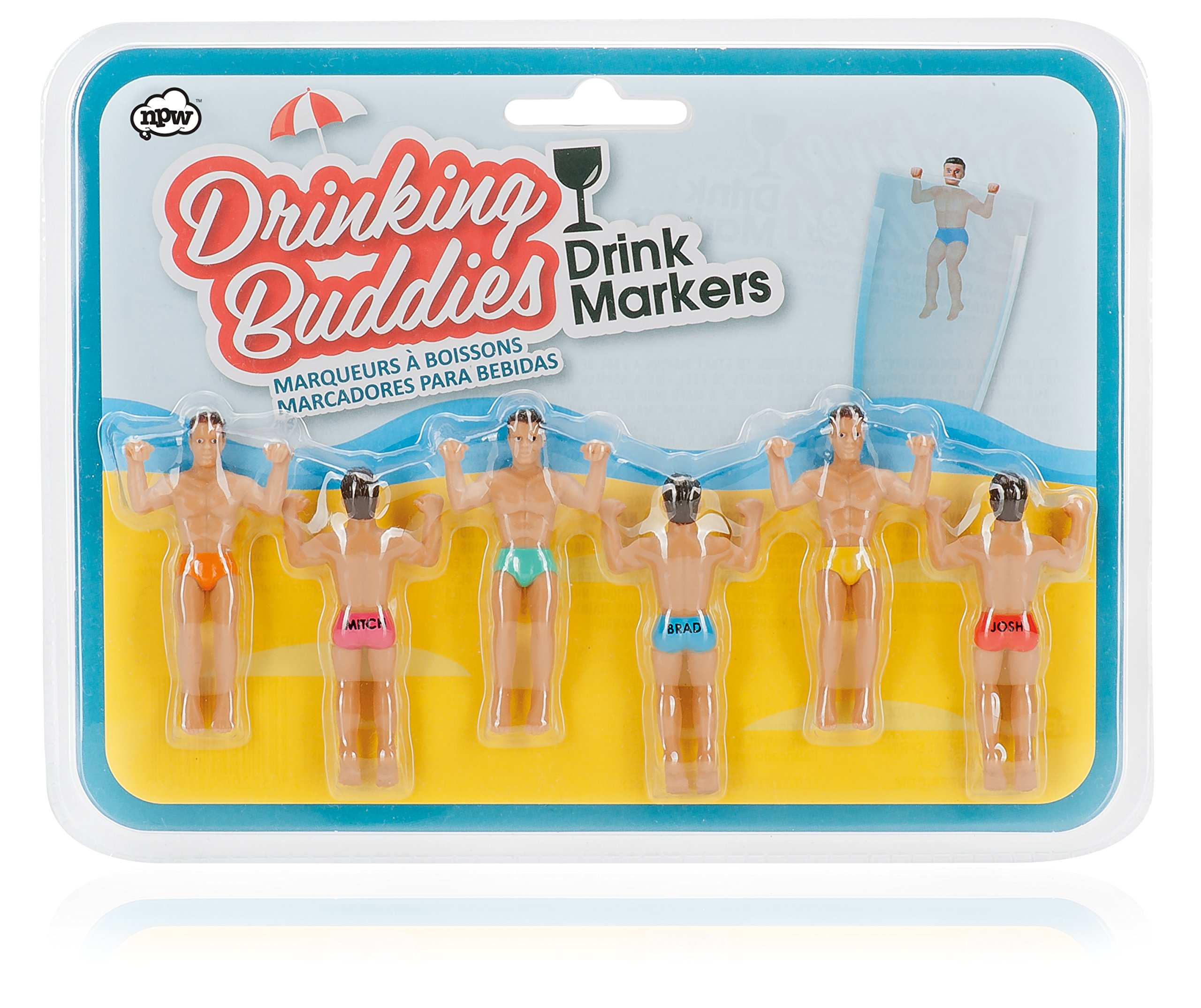 NPW Drinking Buddies Cocktail/Wine Glass Markers, 6-Count, Classic by NPW-USA