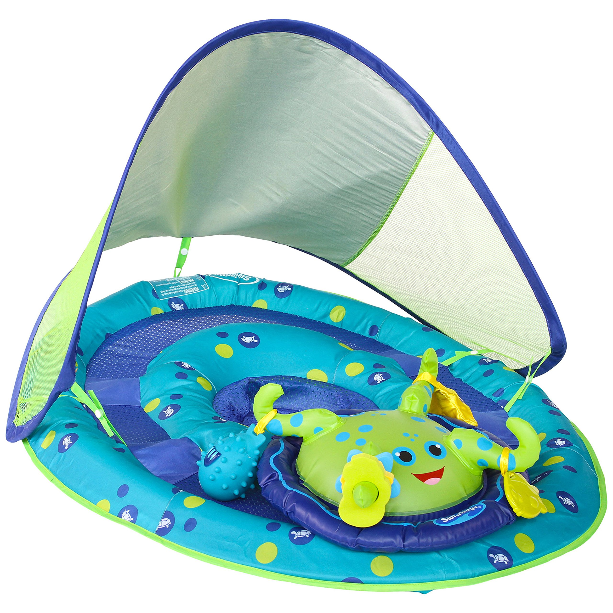 SwimWays Baby Spring Float Activity Center with Canopy - Inflatable Float for Children with Interactive Toys and UPF Sun Protection - Blue/Green Octopus by SwimWays