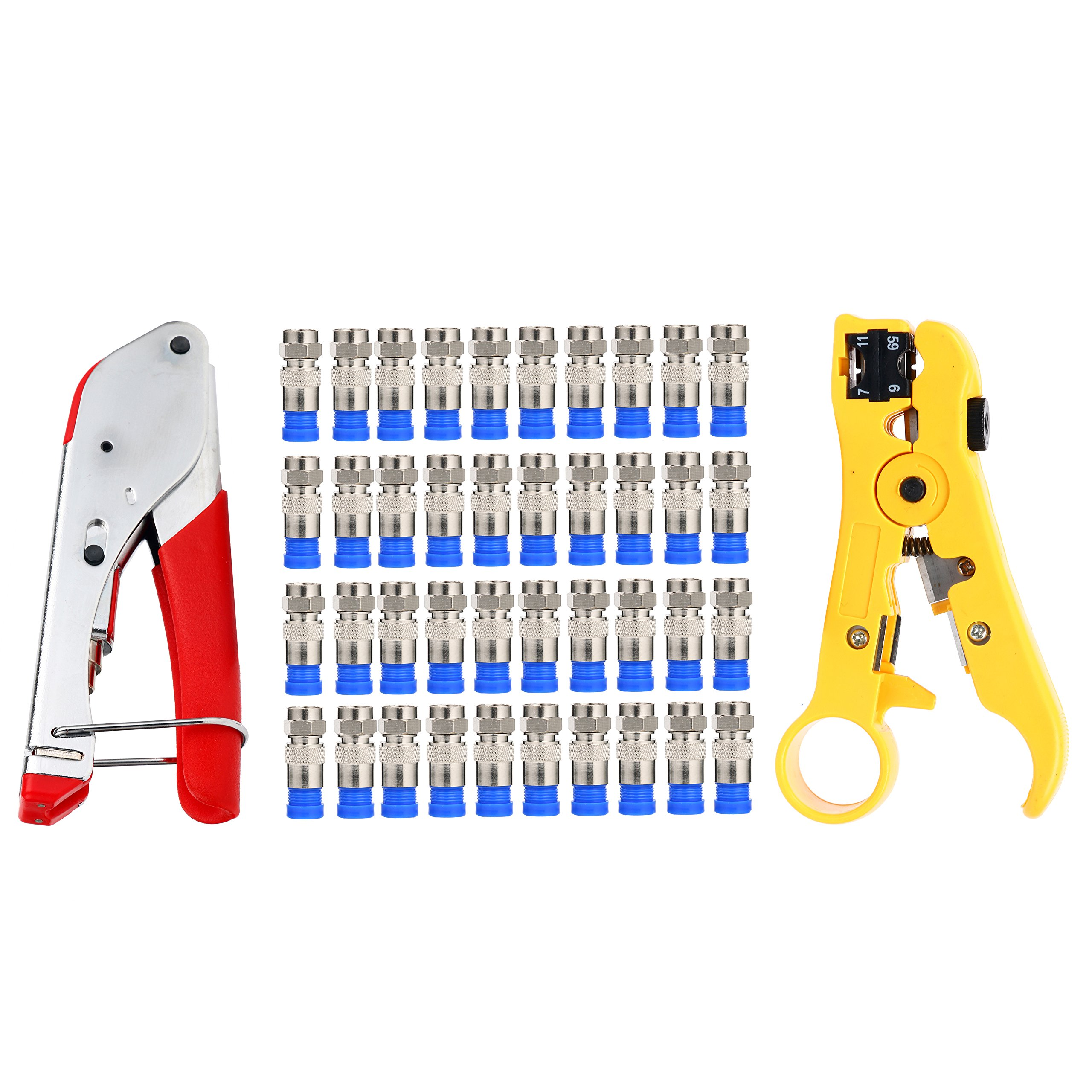 YaeTek Coaxial Coax Compression Connector and 40Pcs F Compression Connectors RG6 with Cable Wire Stripper Stripping Tool Compression Crimper Crimping tool RG6 RG59 RG11 by YaeTek (Image #2)