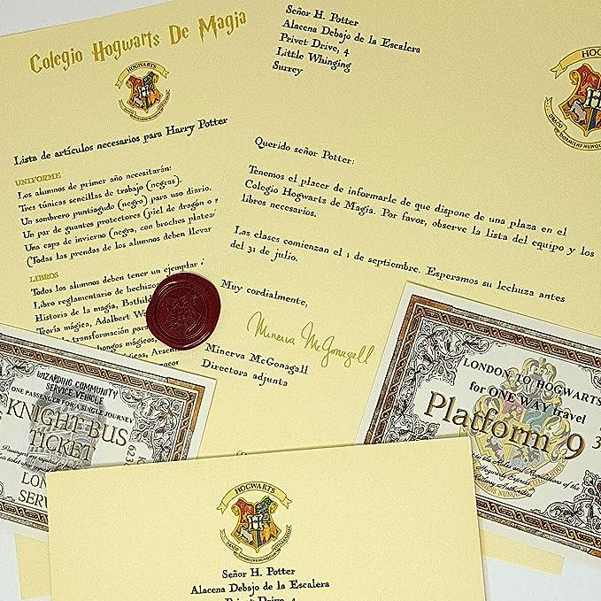 Harry Potter Carta de Aceptación Personalizada Estilo Hogwarts: Amazon.es: Hogar