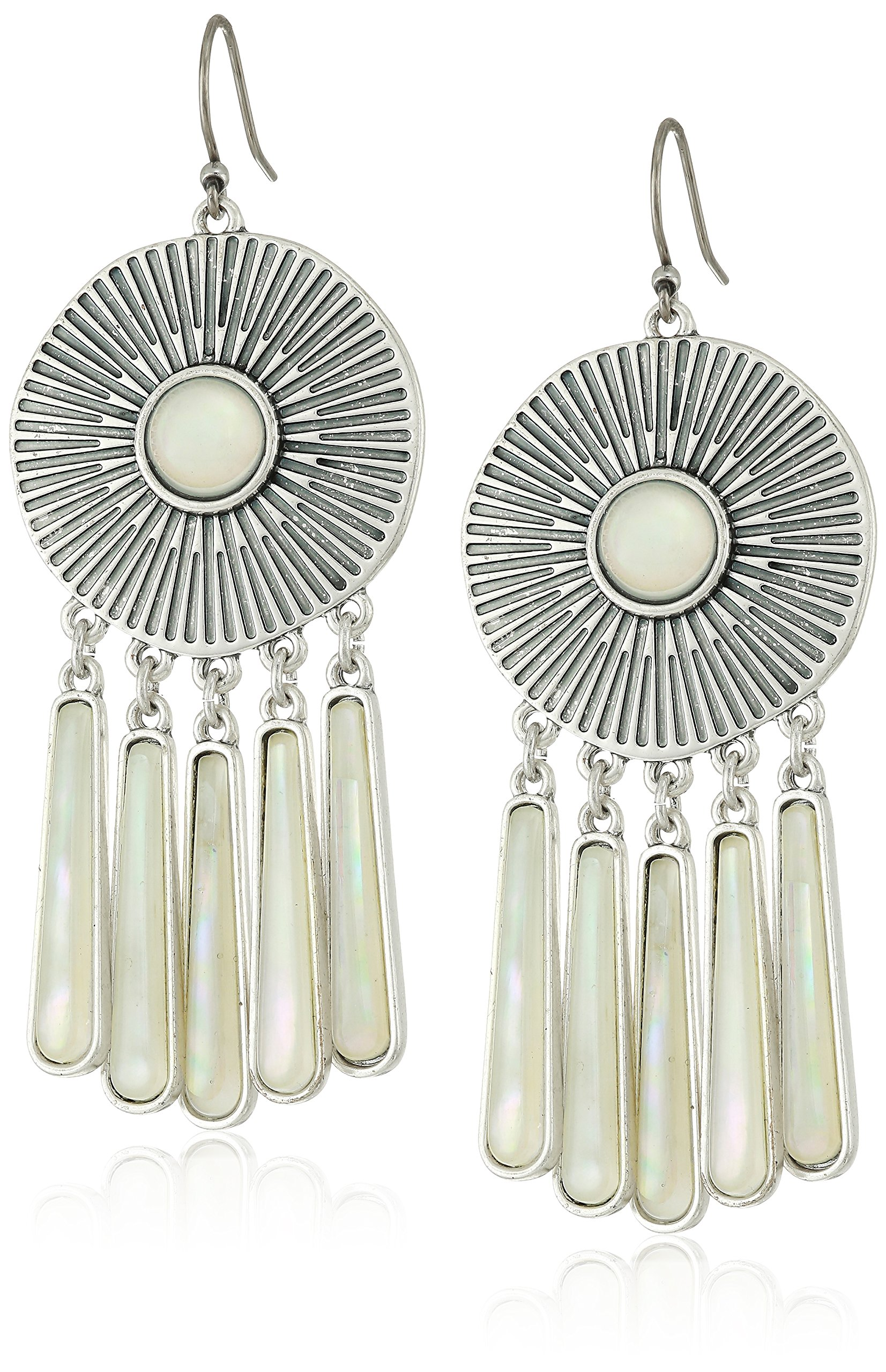 Lucky Brand Womens Medallion Statement Earrings, Silver, One Size