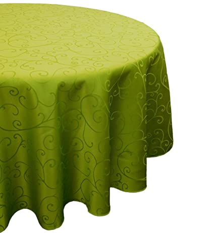 60 Inch Damask Lime Green Round Table Cloth