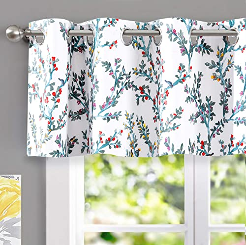 DriftAway Jasmine Watercolor Flower Floral Branch Botanical Lined Thermal Insulated Blackout Room Darkening Grommet Energy Saving Window Curtains 2 Layers 2 Panels 52 Inch by 18 Inch Multi