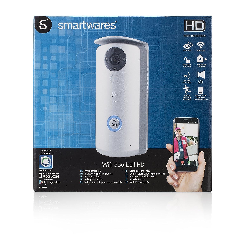 720p Smartwares VD40W Video portero Wifi con app gratuita Resoluci/ón HD