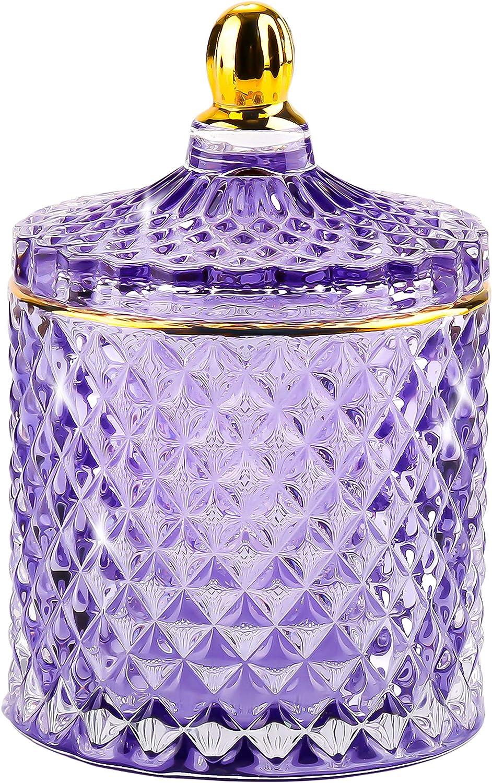 Decorative Box With Lid, Purple Candy Jar, Glass Jewelry Box, Small Storage Container, Apothecary Jars, Crystal Trinket Dish, Beautiful Wedding Candy Buffet Jars Jewelry Organizer for Women Girls Home Decor (10oz)