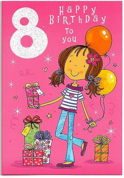 Tarjeta de cumpleaños para niña de 8 años - libre 1ª clase ...