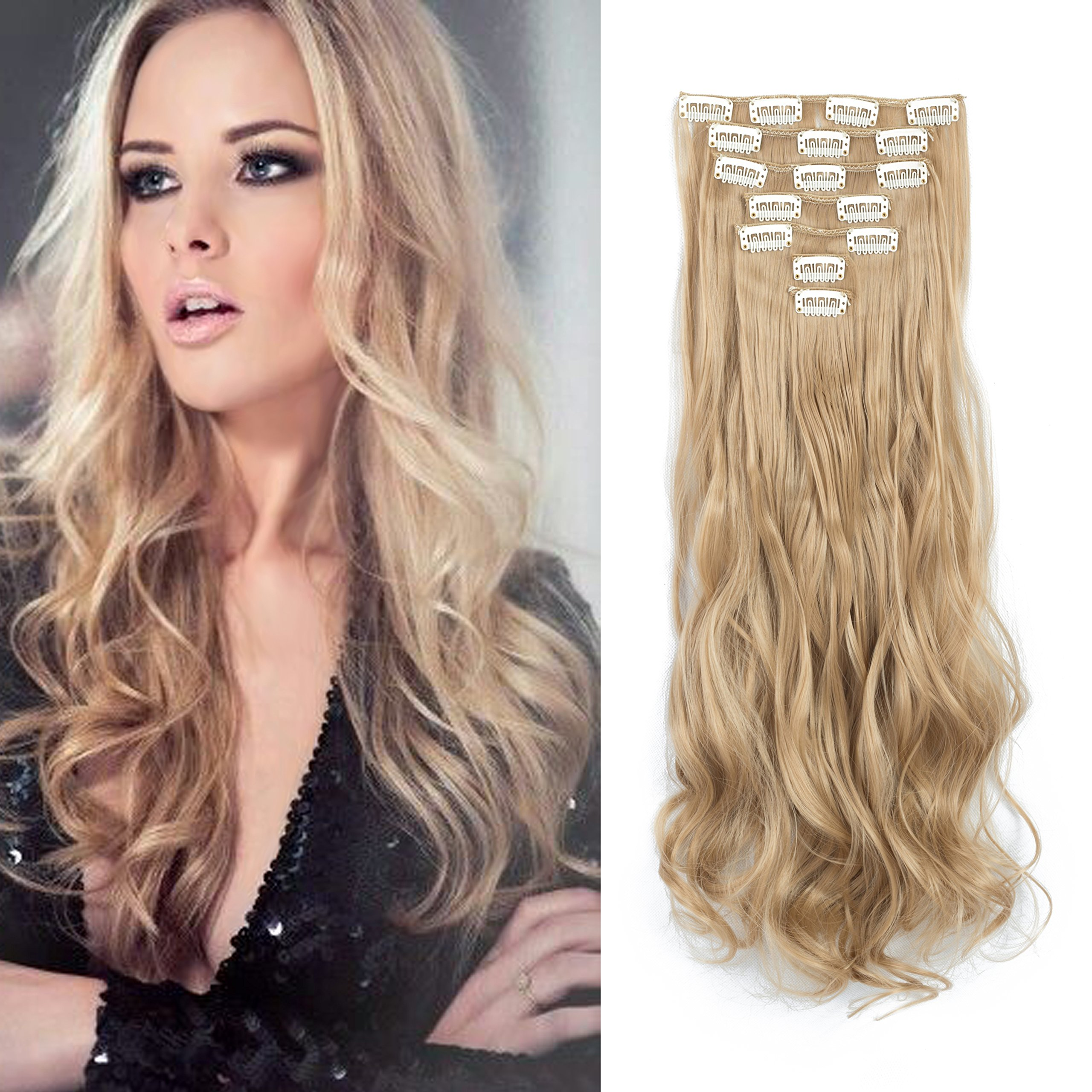 Amazon 7pcsset Clip In Hair Extensions 20inch Long Wavy Heat