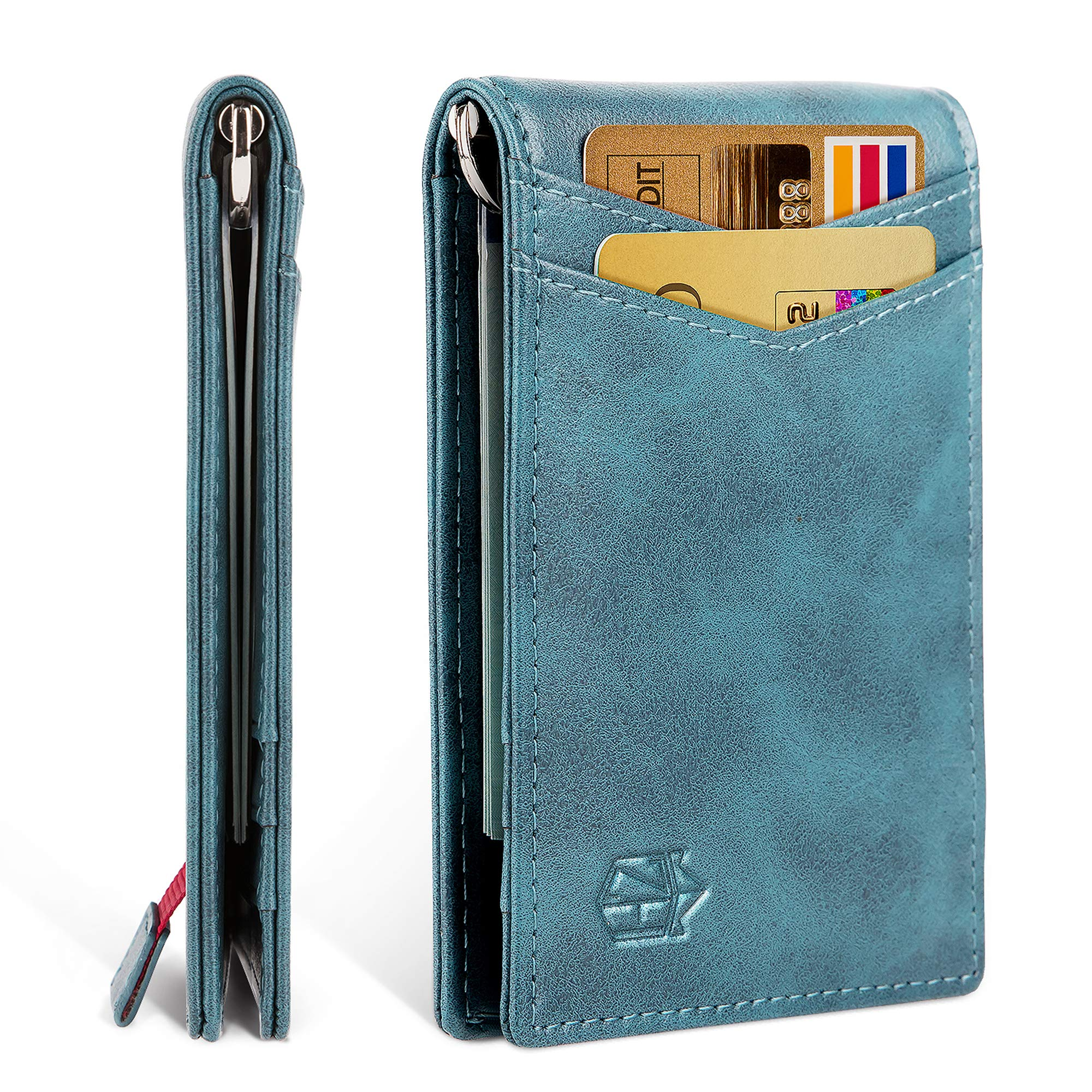 Zitahli Minimalist Slim Bifold Front Pocket Wallet with Money, Vintage Blue, Size Small by Zitahli