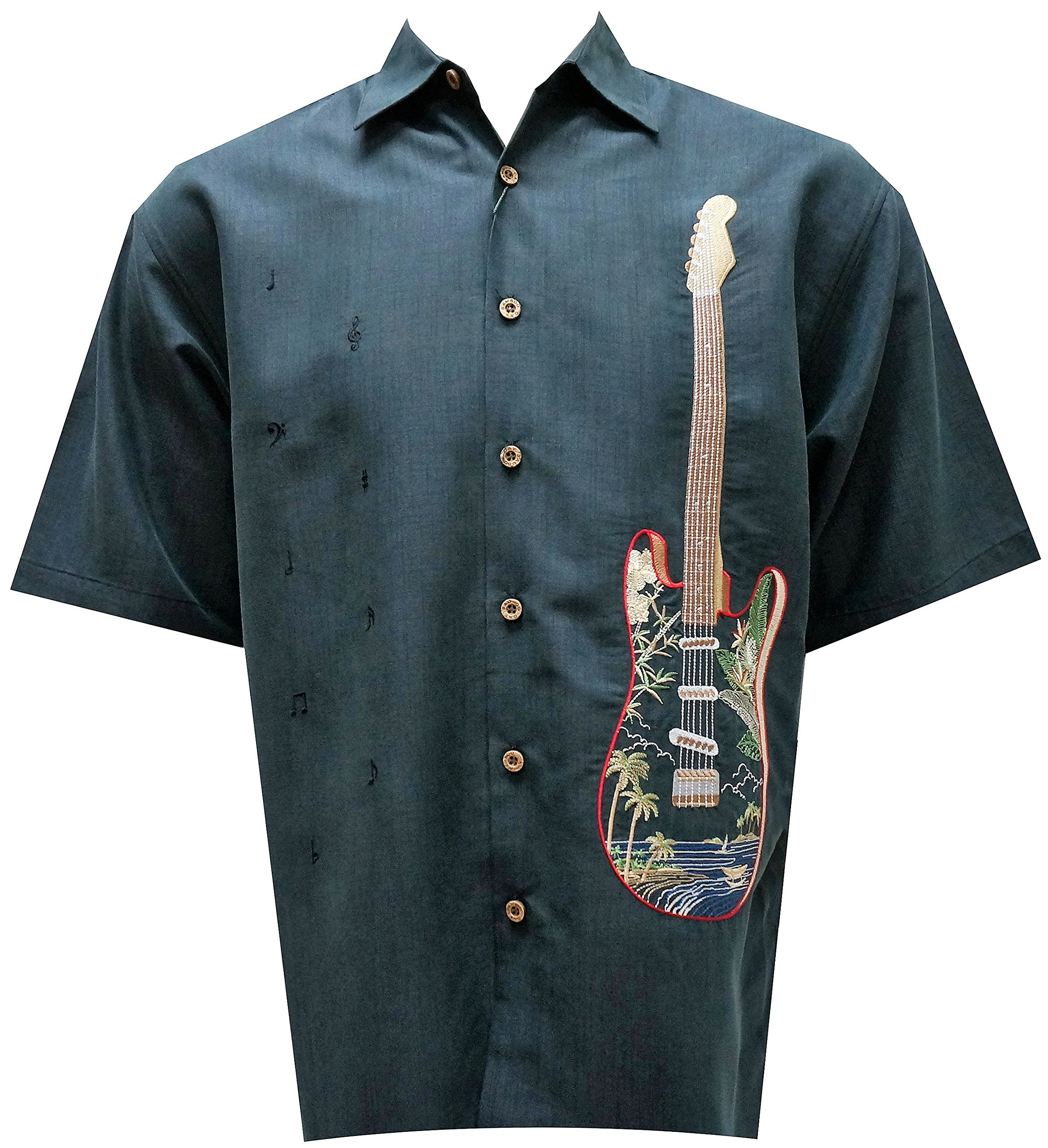 Bamboo Cay Men's Rock Alone, Tropical Style Guitar Embroidered Camp Shirt (Large, Raven)
