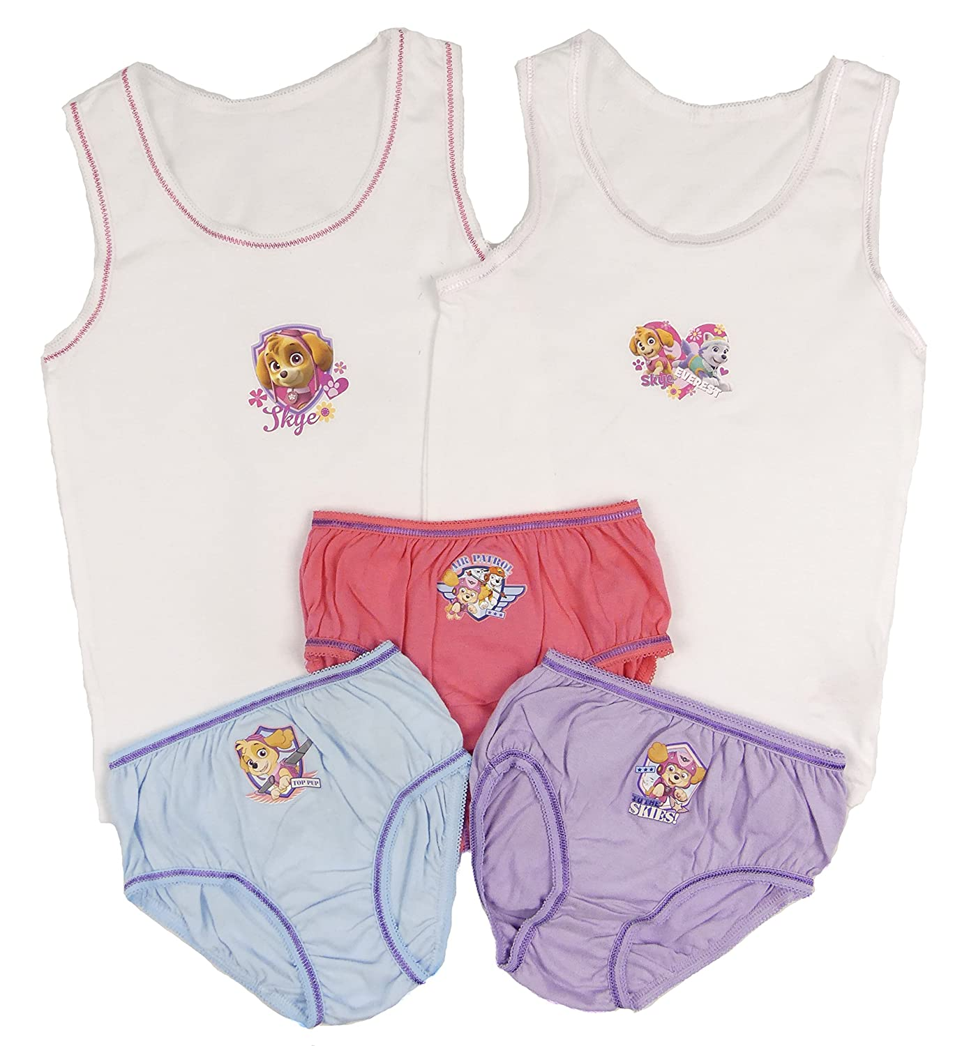 Paw Patrol Girls Vests and Knickers Set Sizes 18-24m 2-3y 3-4y 4-5y