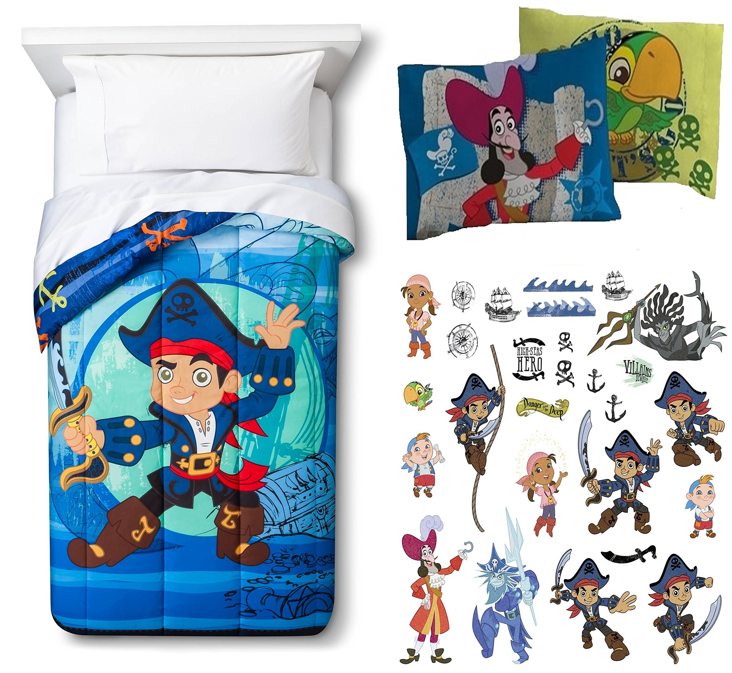 Jake and the Neverland Pirates Twin Comforter, Two Reversible Pillowcases and 27pc set of Wall Decals