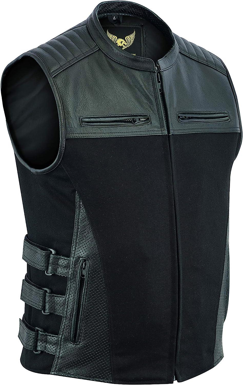 Gilet da motociclista stile tattico SWAT in denim e pelle di bufalo con tasche per pistola e pannelli perforati