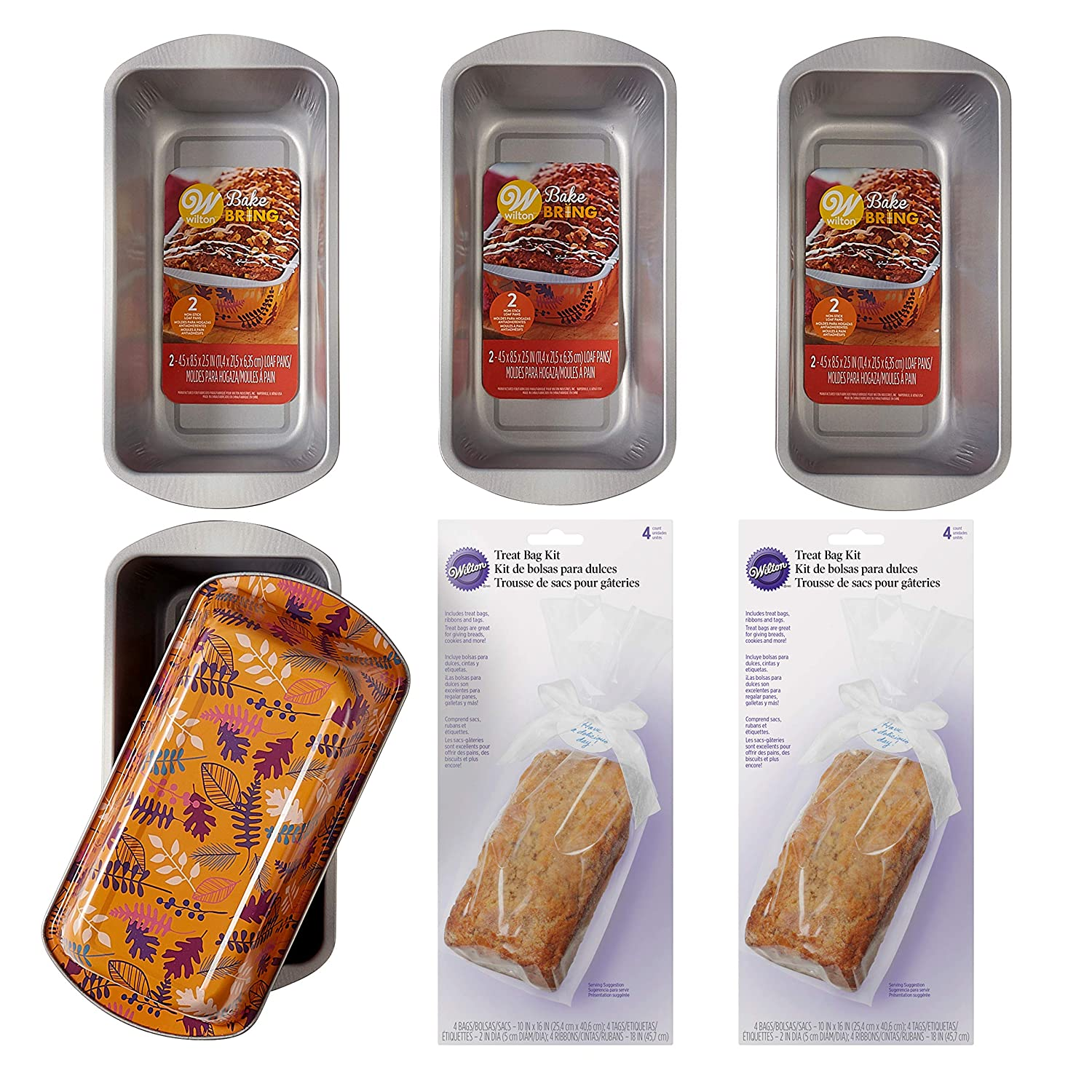 Wilton Bake and Bring Autumn Print Loaf Pans Gifting Kit, 10-Piece