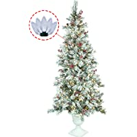 ABUSA Flocked Artificial Prelit Xmas Pine Tree 7.5 9 ft Snowy Spruce with 700 750 1000 LED Clear Lights Christmas Tree