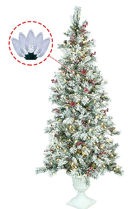 Amazoncom Abusa Prelit Potted Pencil Christmas Tree 65 Feet With