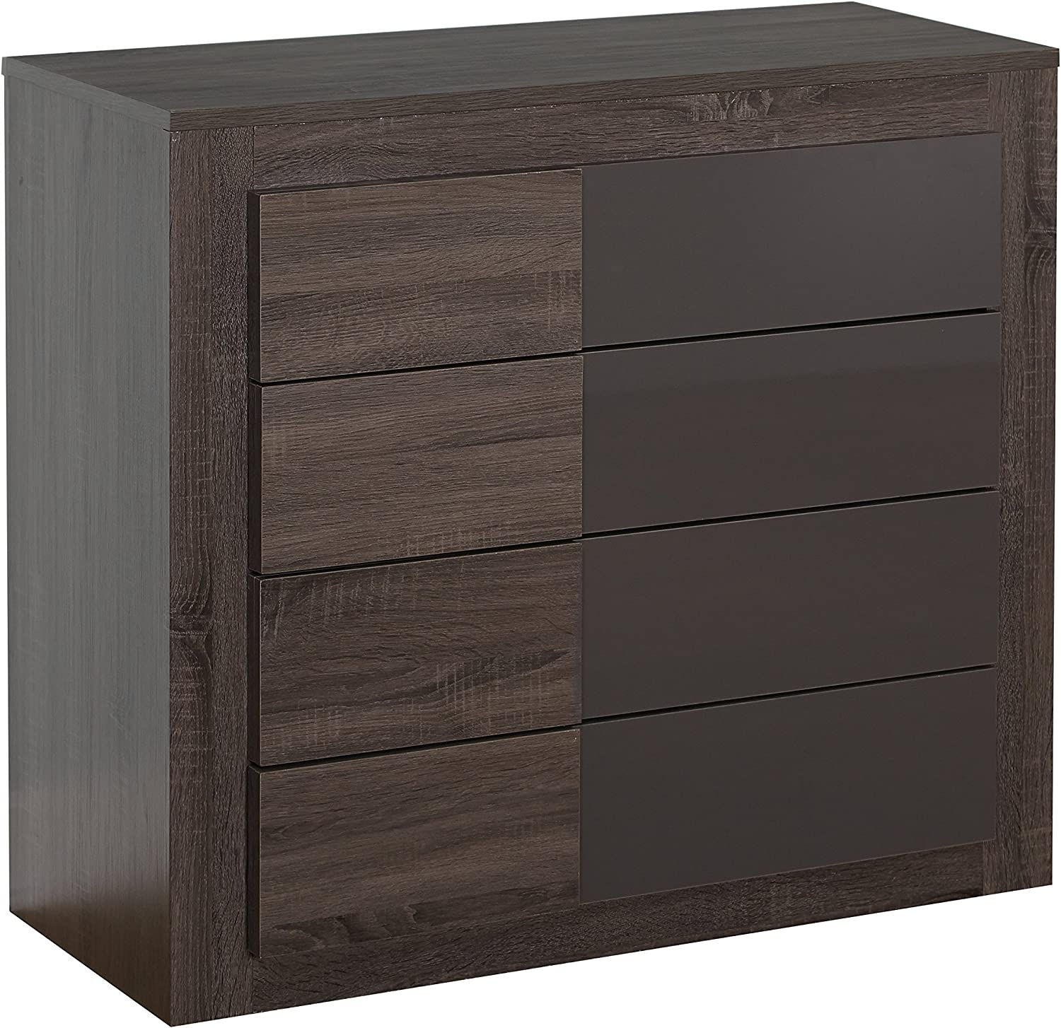 Target Marketing Systems Two-Toned Eden Drawer Chest with 4 Drawers, Dark Sonoma Oak High Gloss Gray