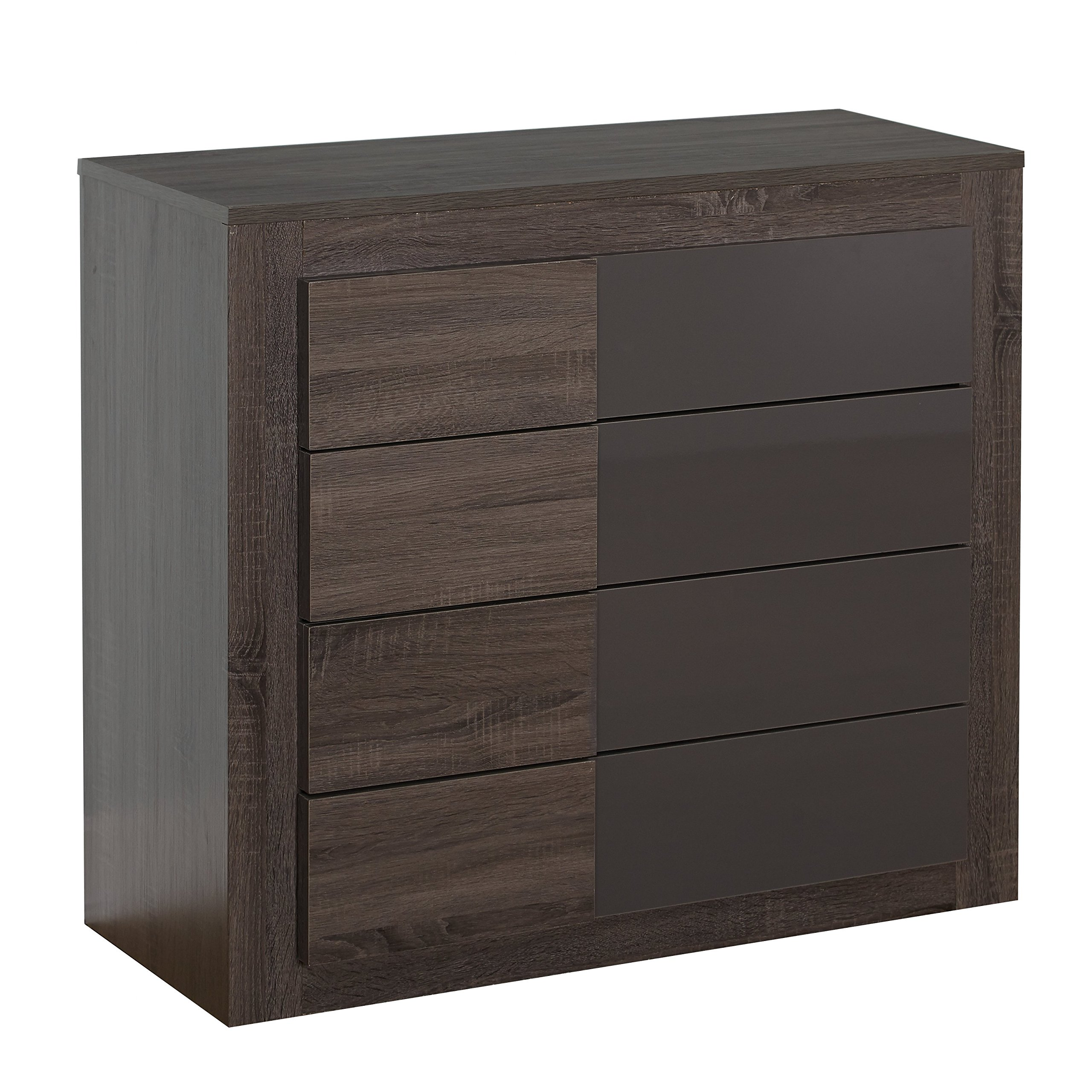 Target Marketing Systems Two-Toned Eden Drawer Chest with 4 Drawers, Dark Sonoma Oak/High Gloss Gray by Target Marketing Systems