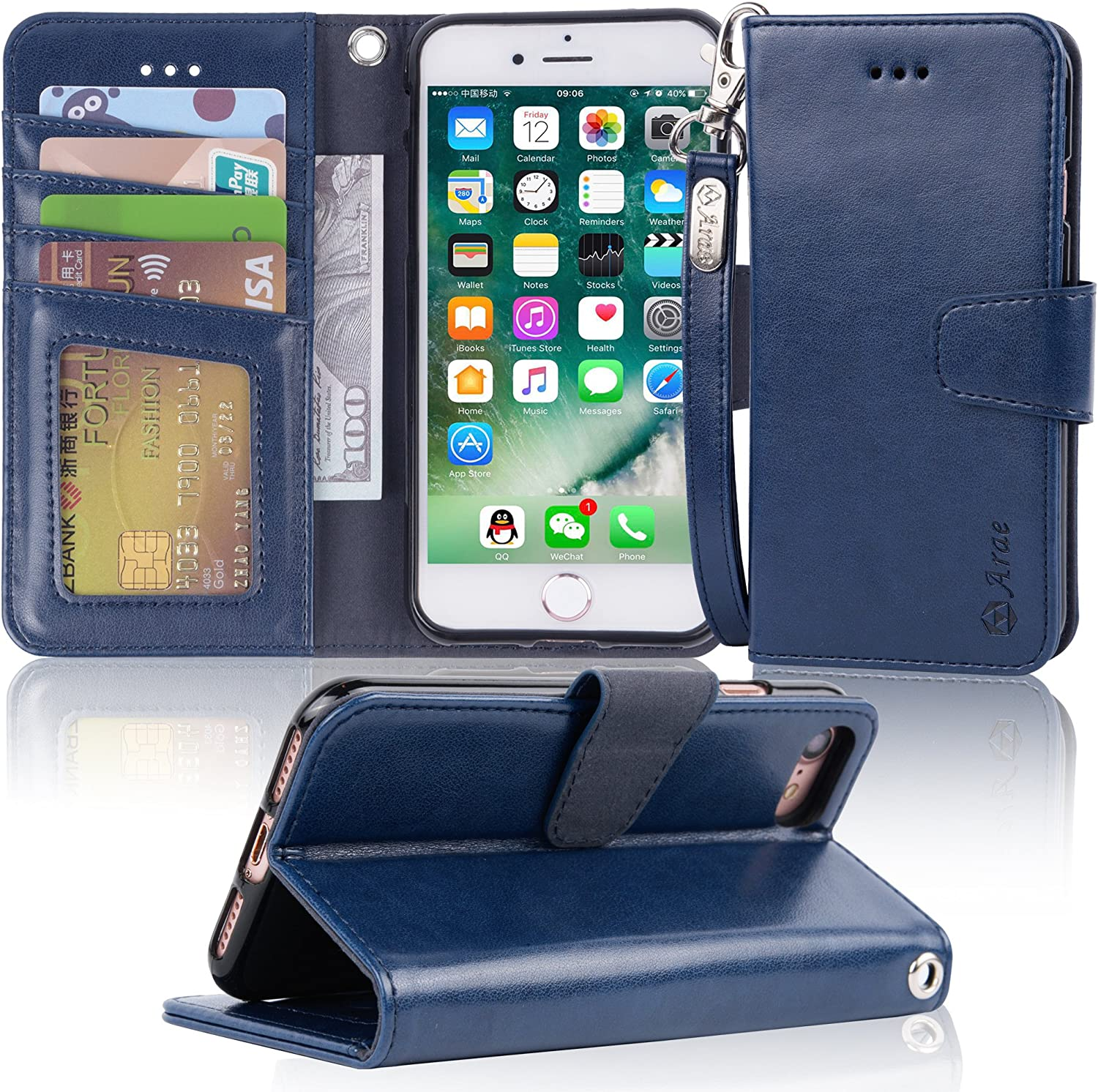 Arae Case for iPhone 7 / iPhone 8 / iPhone SE 2020, Premium PU leather wallet Case with Kickstand and Flip Cover for iPhone 7 / iPhone 8 / iPhone SE 2nd Generation 4.7 inch, blue