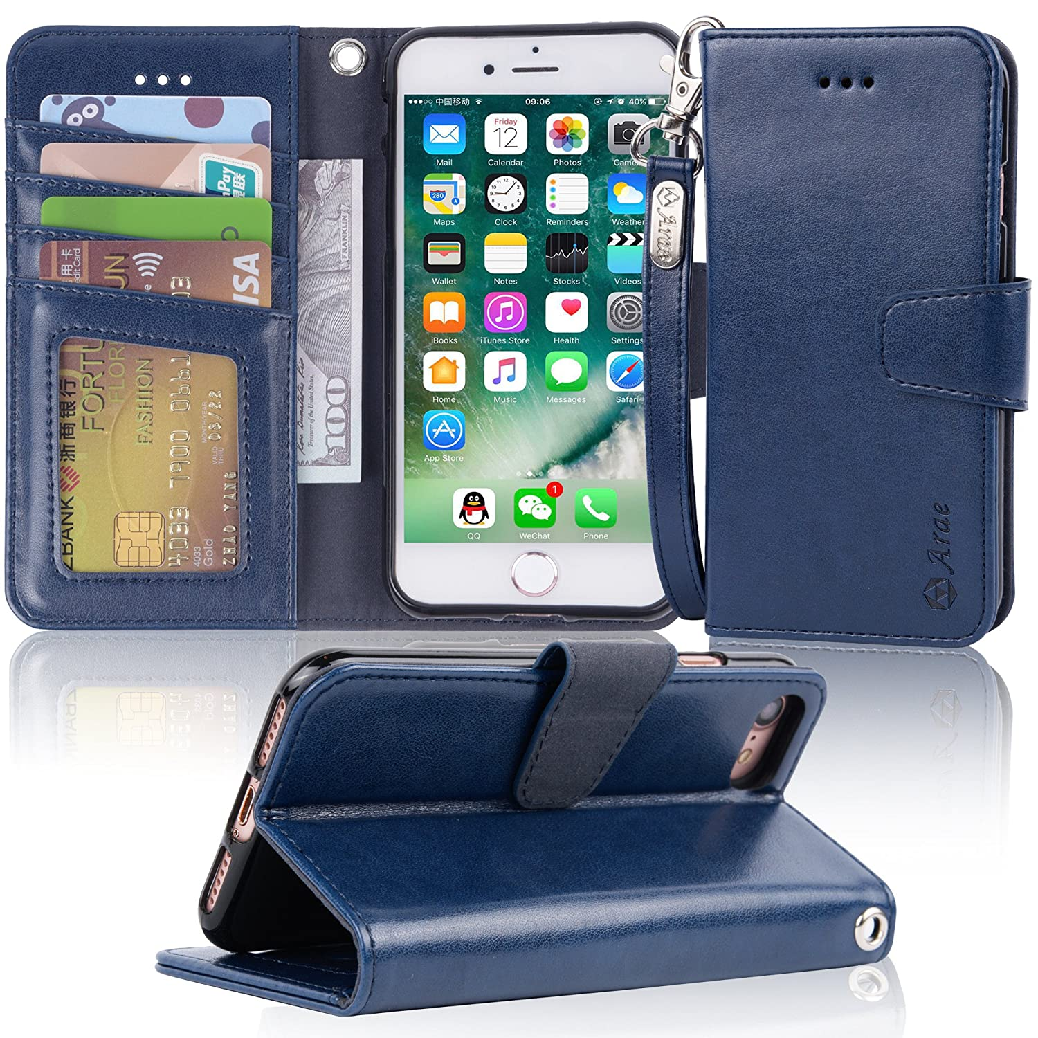 iPhone 7 Case, iPhone 8 case, Arae [Wrist Strap] Flip Folio [Kickstand Feature] PU Leather Wallet case Holster with ID&Credit Card Pockets for Apple iPhone 7/8-(Black) eTemall IP7