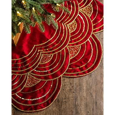 Balsam Hill Elizabeth Beaded Tree Skirt, 60 inches, Cranberry Red