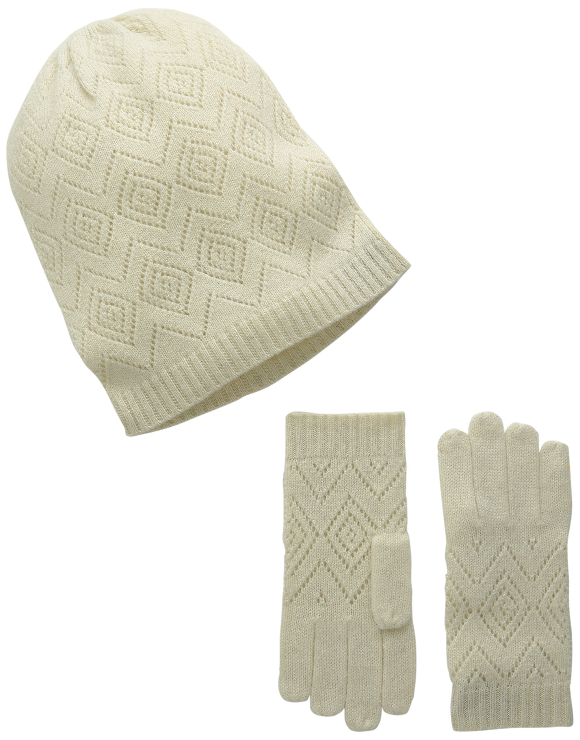 La Fiorentina Women's Cashmere Knit Pointelle Hat and Glove 2 Piece Set, Ivory, One Size