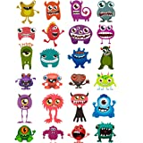 Oblique Unique® Tattoos Pack of 24 Funny Colorful Monsters Temporary Tattoos for Boys Girls