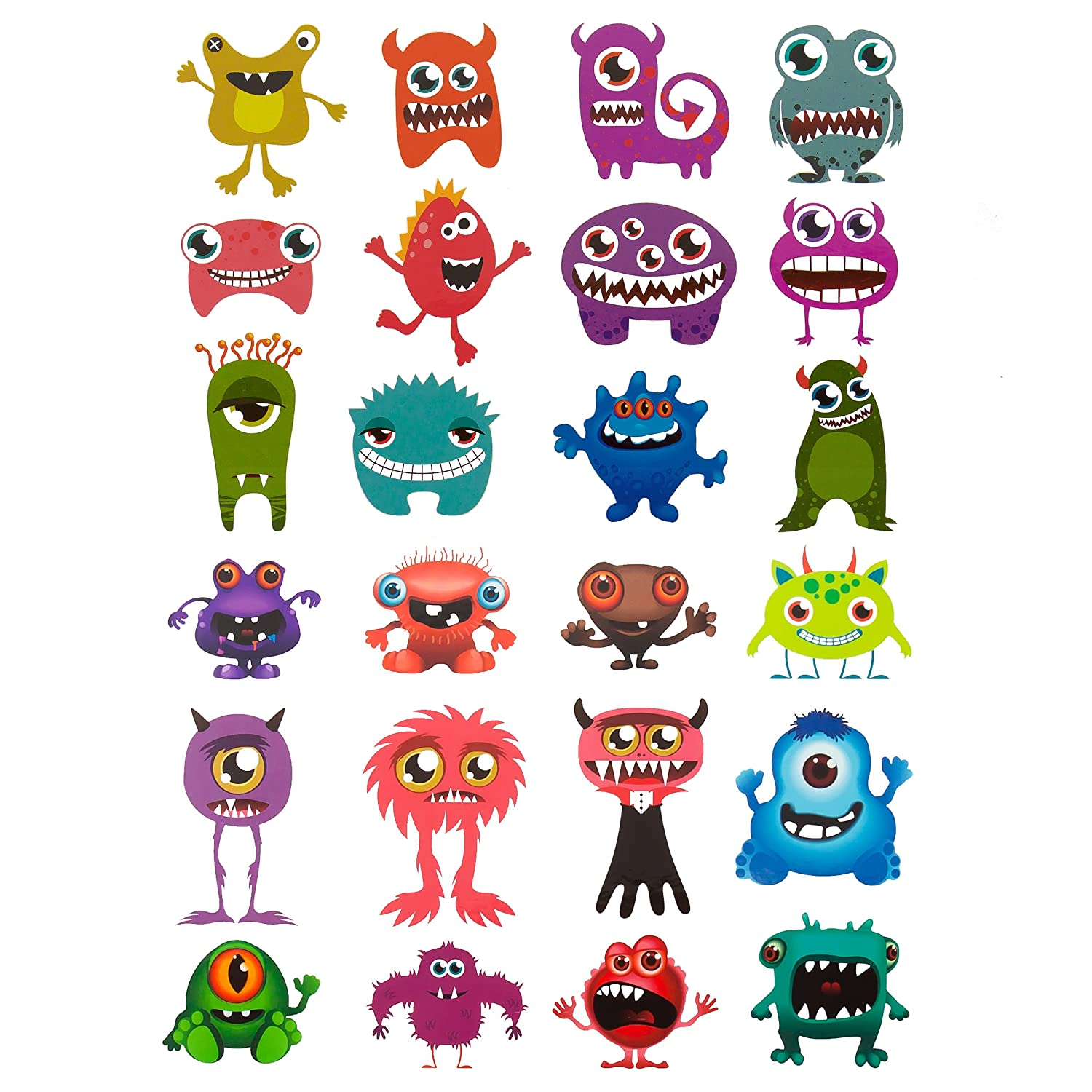 Oblique Unique® Tattoos Pack of 24 Funny Colorful Monsters Temporary Tattoos for Boys Girls Oblique-Unique CM-120-24
