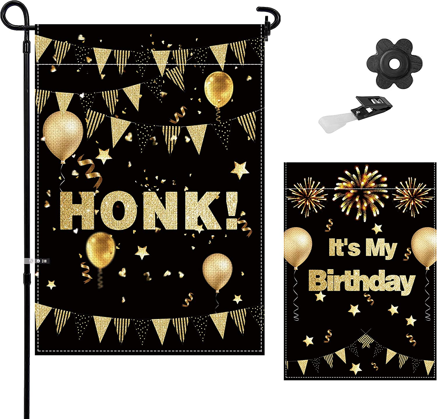 Tuoyi HONK It's My Birthday Garden Flag, 18 x 12.5 inch Double Sided Design for HONK Birthday Party, Outside Yard Sign Banner, Indoor & Outdoor Lawn Decorations