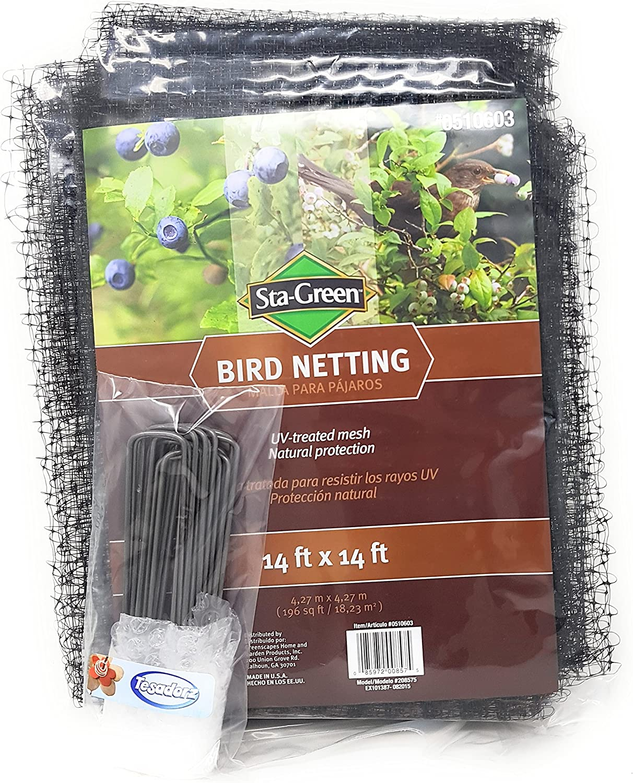 Tesadorz Sta-Green Protective Bird Netting 14 x14 6 Landscape Staples