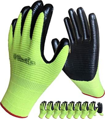 Pair Of Latex Coated Durable Safety Work Gloves Gardening Builders Mechanic Grip