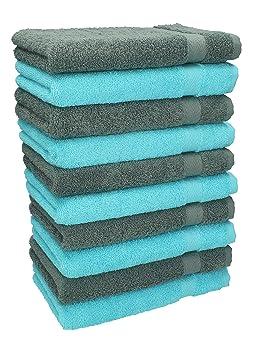 Betz Paquete de 10 piezas de toallas para invitados Juego de toalla de lavabo 100% algodón tamaño 30x50 cm toalla de mano PREMIUM de color turquesa y gris ...
