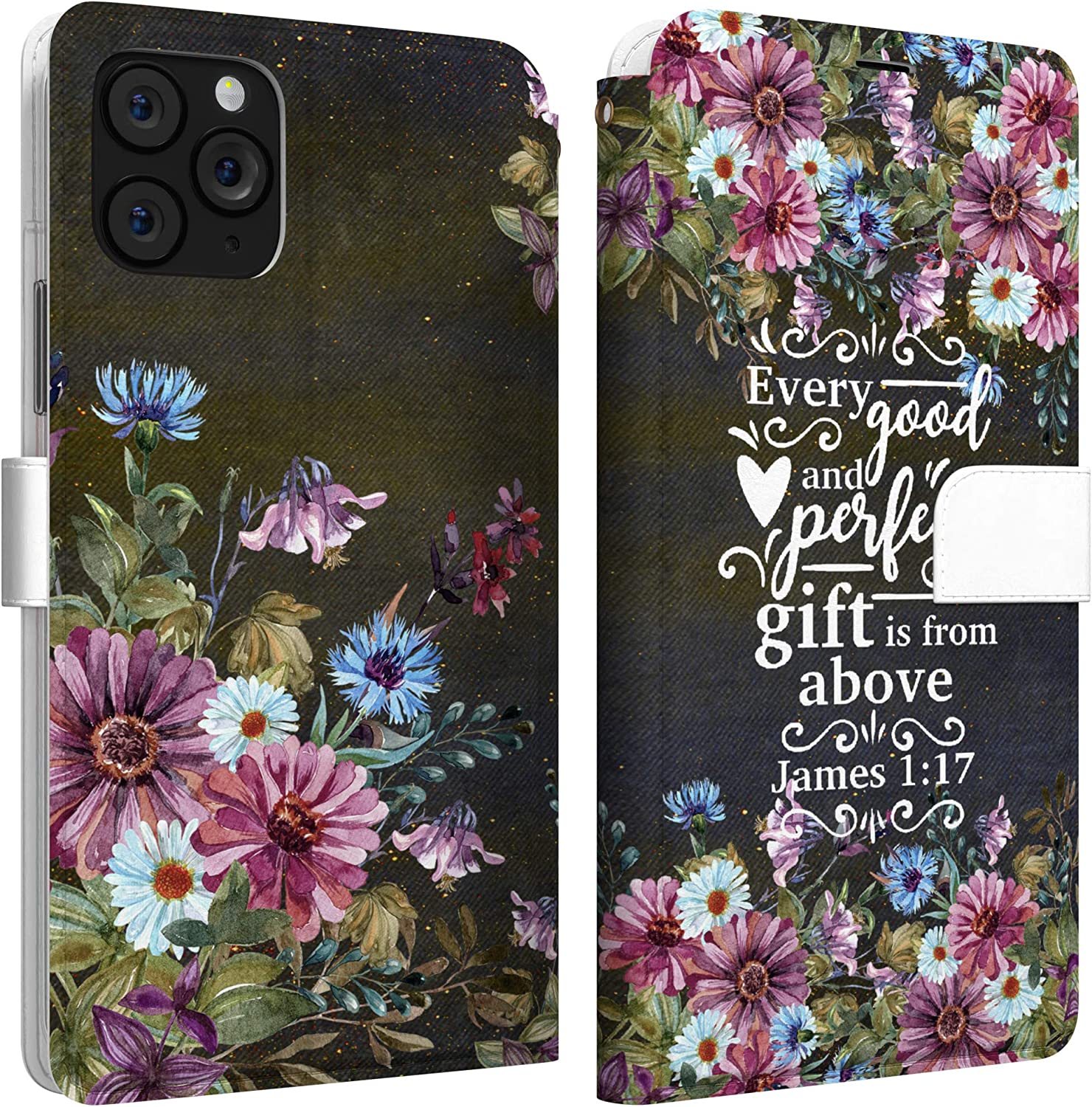 Mertak Wallet Case Compatible with iPhone 12 11 Pro Max SE Xr Xs X 8 Plus 7 6s James 1:17 Slim Fit Flowers Quote Cover Religious Magnetic Lightweight Black Daisy Card Holder Protective Bible Verse