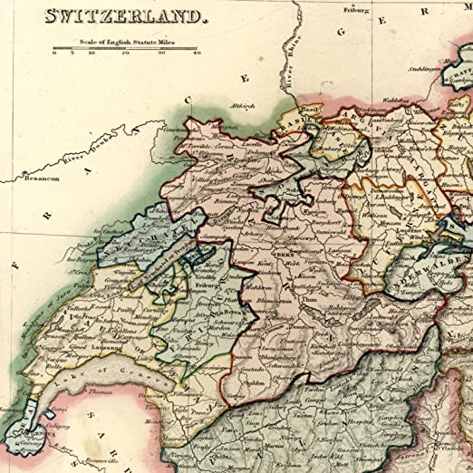 Map Of Europe 1840.Amazon Com Switzerland By Cantons Europe C 1840 Old Map By Dower