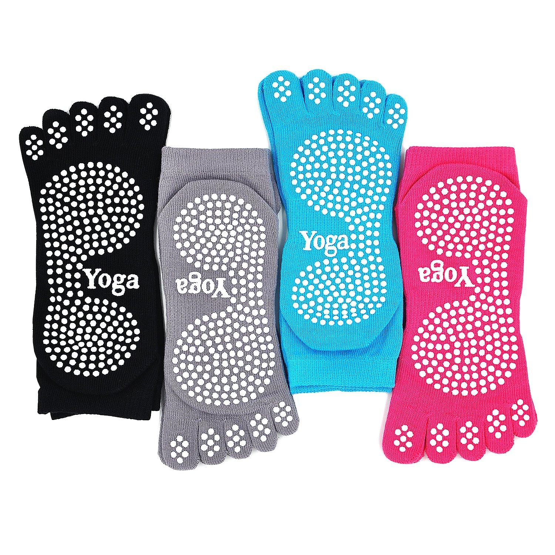 PUTUO Mujer Calcetines Pilates Yoga Antideslizantes, Mujer Cinco Calcetines de los Dedos para Pilates Yoga