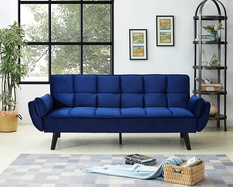 Amazon.com: Best Quality Furniture Velvet Sofa Bed, Navy ...