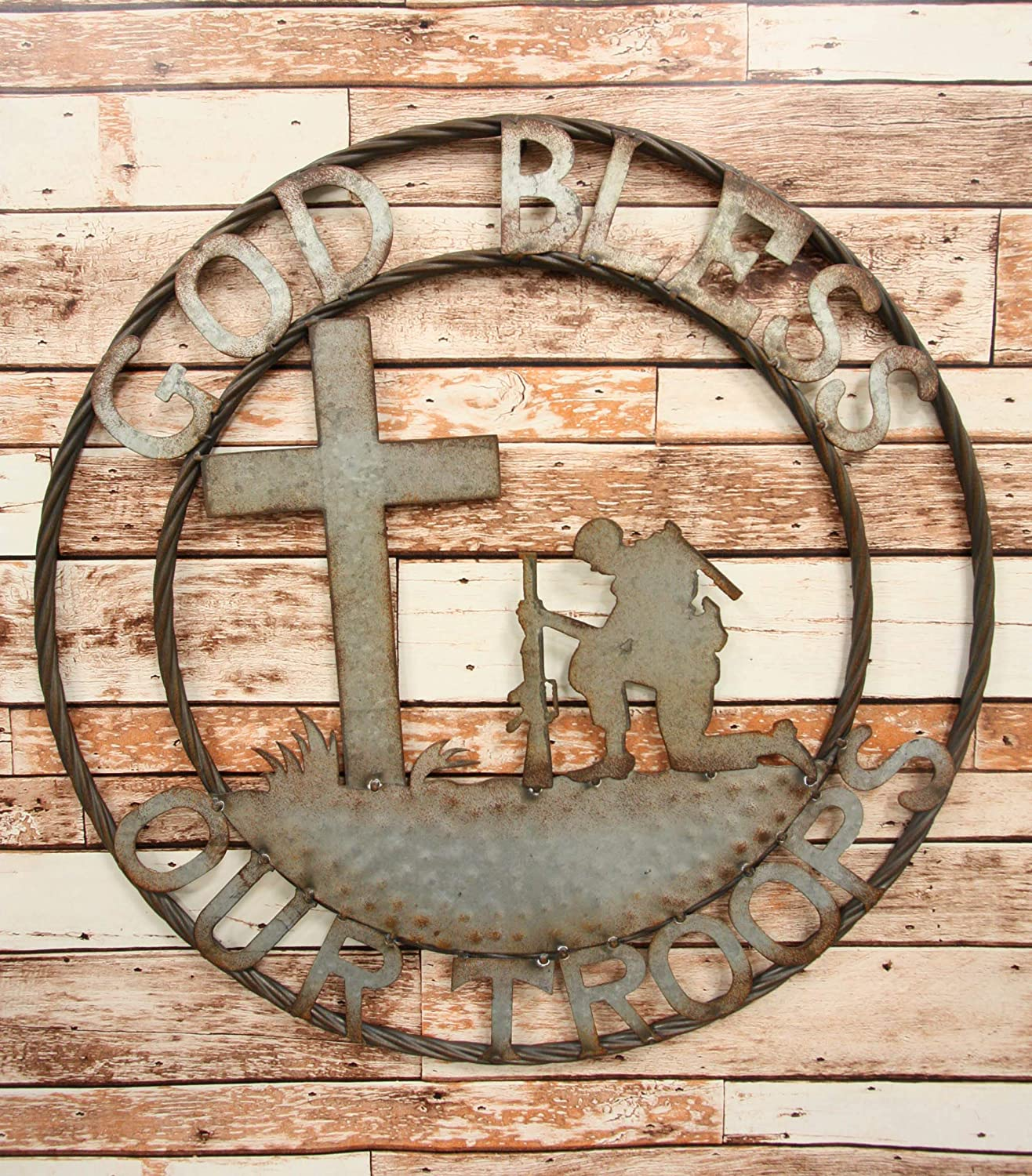 """Ebros Gift Oversized 24"""" Wide Vintage Rustic Round Sign Braided Rope Galvanized Metal Circle Wall Decor 3D Art Decorative Greeting Plaque Western Country Ranch Home (God Bless Our Troops)"""