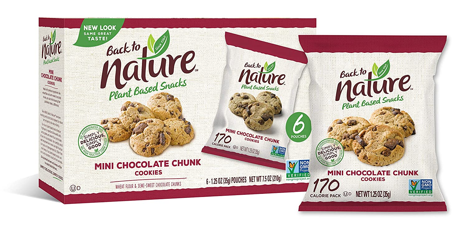 Back to Nature Cookies, Non-GMO Mini Chocolate Chunk, 6 Count