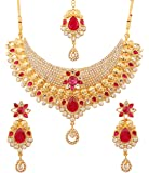 Touchstone Gold Tone Crescent Theme Mesh Work Pink and White Rhinestone Bridal Jewelry Necklace Set for Women