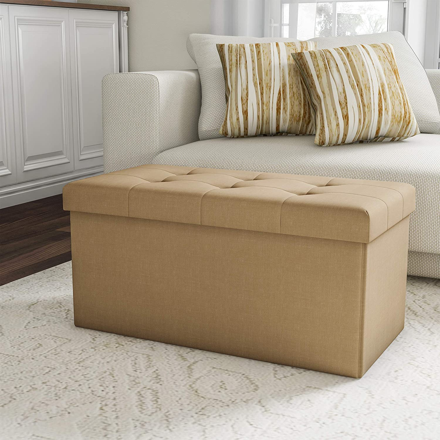 "Lavish Home Folding Storage Bench Ottoman– 30"" Tufted Foam Padded Lid, Beige"