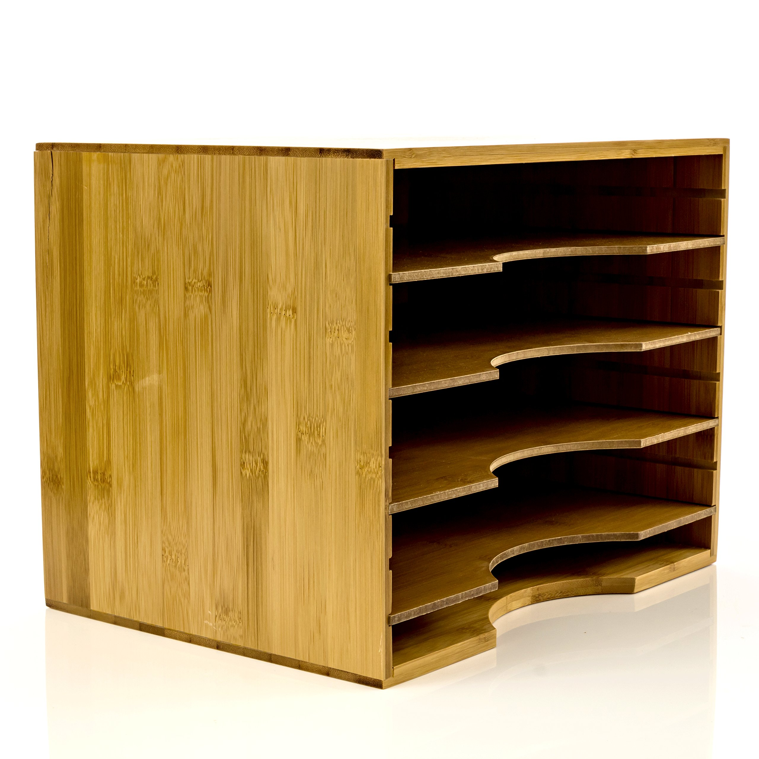 File Organizer Mail sorter, With Four Adjustable Dividers Natural Bamboo wood Color By Intriom Bamboo Collection (File Organizer) by Intriom (Image #4)