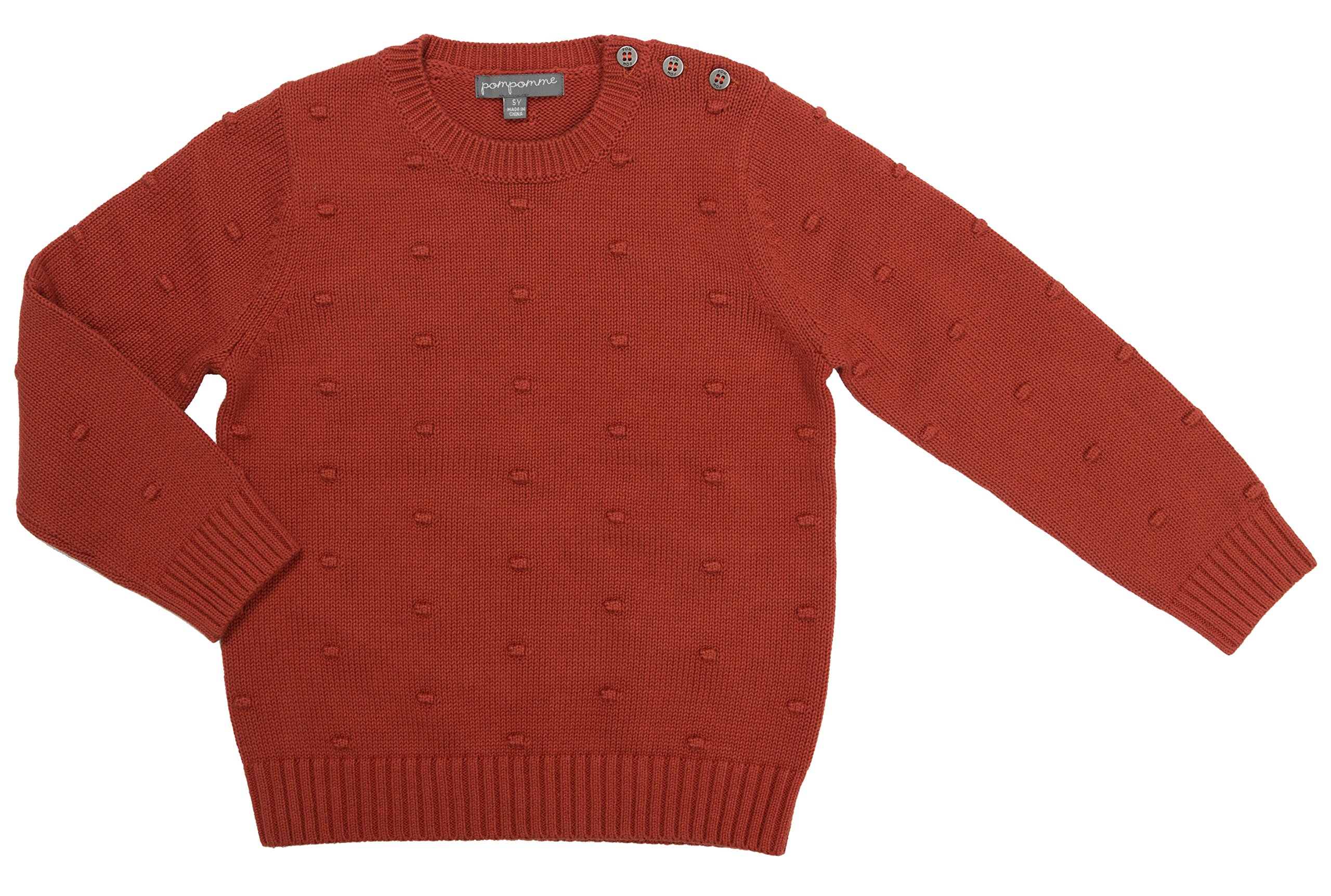 Pompomme Boy's Burnt Orange textured sweater w/button closure shoulder (6 Yr)