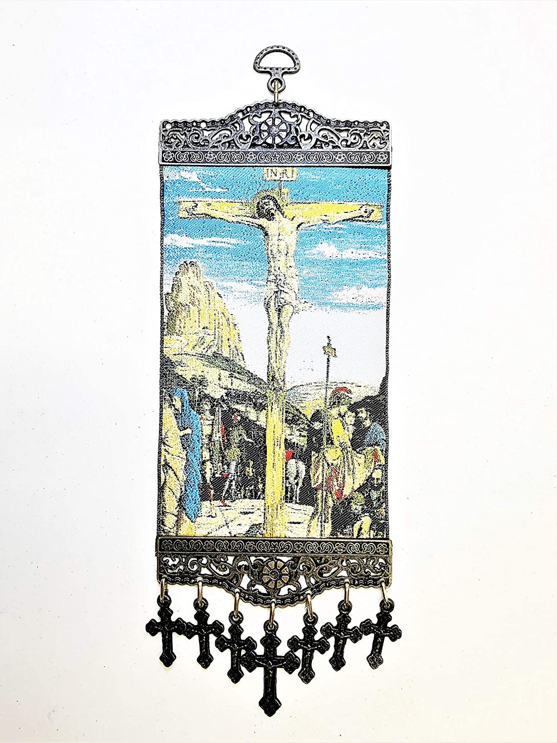 Religious Icon – Crucifixion of Lord Jesus Christ - Wall Hanging Tapestry Banner Art Decor - Christian Orthodox Catholic - 11 x 4 inch - Christmas Easter Thanksgiving Anniversary Birthday Housewarming Ideal