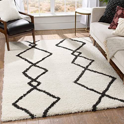 Well Woven Engren Ivory   Thick Nordic Shag   Tribal Diamond Area Rug 8×10 7'10″ x 9'10″