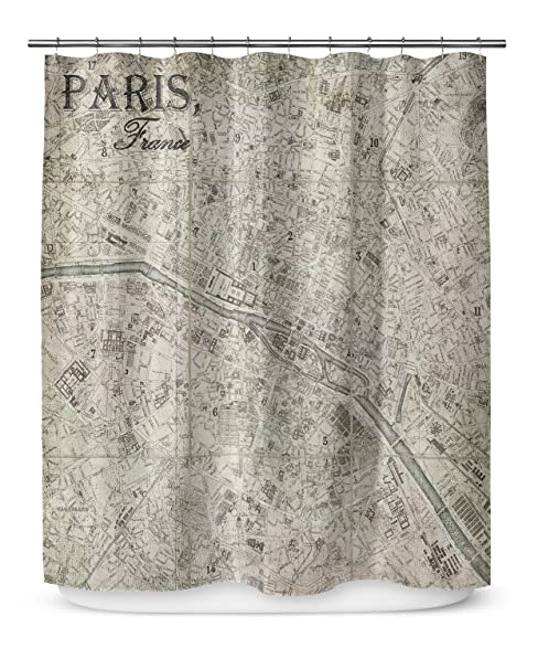 KAVKA Designs Paris Shower Curtain, (Taupe/Tan/Grey)   ESCAPE Collection