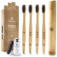 Greenzla Bamboo Toothbrush (4 Pack) with Travel Toothbrush Case & Charcoal Dental Floss | Natural Eco Friendly…